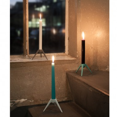 Satellite Kerzenständer aus Metall - grau