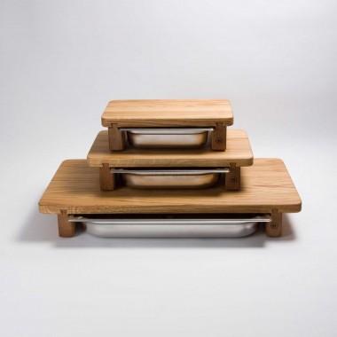 schneidebrett aus eichenholz mit edelstahl wanne l. Black Bedroom Furniture Sets. Home Design Ideas