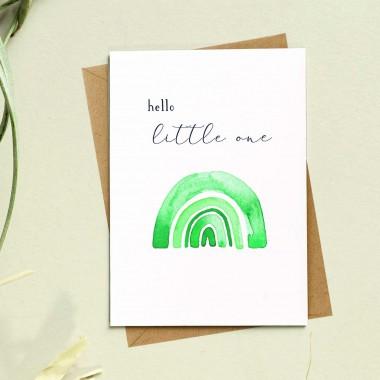 Paperlandscape | Faltkarte | Geburtskarte | Regenbogen | hello little one