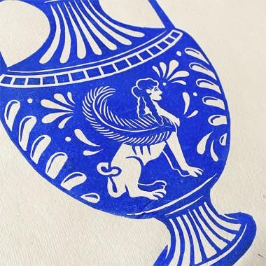 Juliana Fischer - Vase Sphinx - Linoldruck, blau, DIN A3