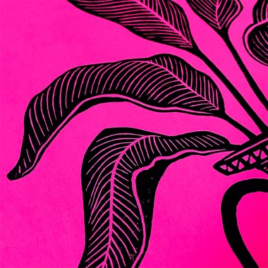 Juliana Fischer - Vase Sphinx - Linoldruck, neonpink, DIN A3