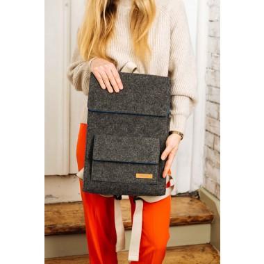 RÅVARE Schmaler schlichter City-Rucksack aus Filz, federleichter puristischer Rucksack im skandinavischen Stil