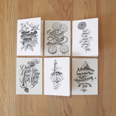 Handlettering Kartenset »Greeting Cards« DIN A5 Klappkarten, illustriert