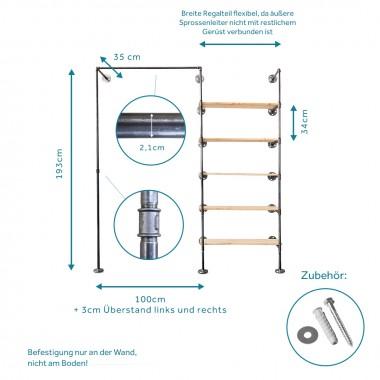 Offener Kleiderschrank im Industriedesign in Wunschgröße - Ankleidesystem mit Kleiderstange + Regal aus Wasserrohr