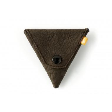 Triangle Wallet - Kleingeldbörse aus dunkelbraunem Leder - Burning Love