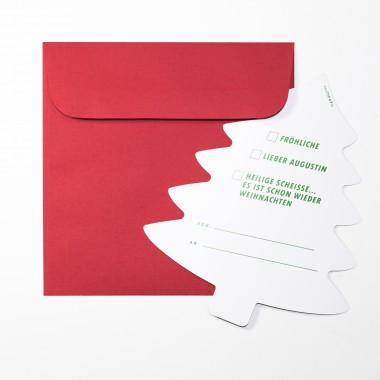"""TYPOP 2-teiliges Set Design WEIHNACHTSKARTE """"Oh Du"""" Tannenbaumform inkl. Umschlag"""