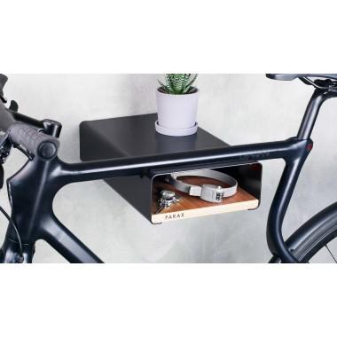 Design Fahrrad-Wandhalterung S-RACK | Schwarz mit Walnuss Holz | für Rennrad Hardtail & Cityrad | Fair in Deutschland gefertigt