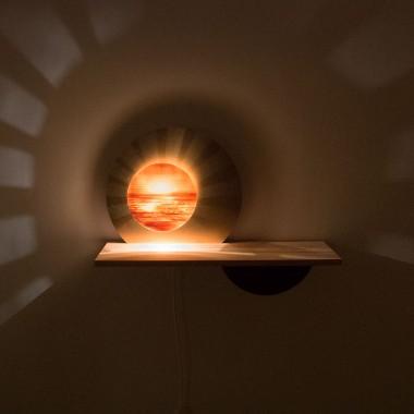 MAXLUZI - Wandlampe 'Sol y Luna' Messing trifft Apfelbaumholz