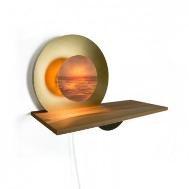 MAXLUZI - Wandlampe 'Sol y Luna' Messing trifft Apfelbaumholz von maxluzi
