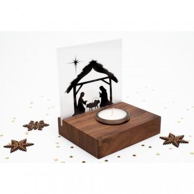 Weihnachtskrippe Mini Bethlehem (Nussbaum)