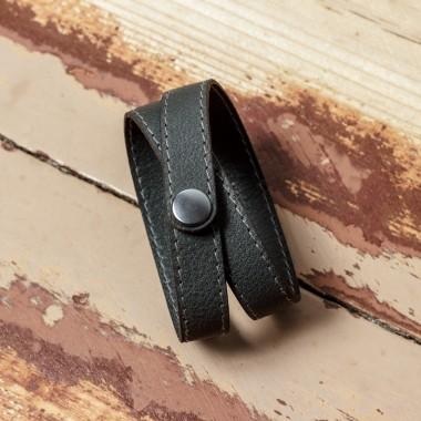 LEDERJUNGE – Wickelarmband, Armband »LIZ« aus Rhabarberleder (grau)