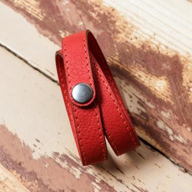 LEDERJUNGE – Wickelarmband, Armband »LIZ« aus Rhabarberleder (korall)