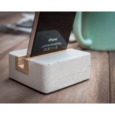 Halter/ Halterung für iPhone, Smartphone und Handy aus Beton und Holz