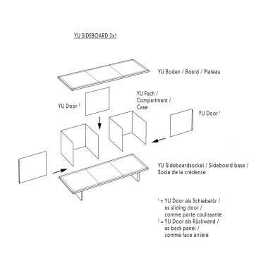 Konstantin Slawinski YU SIDEBOARD 3x1 / Eiche schwarz