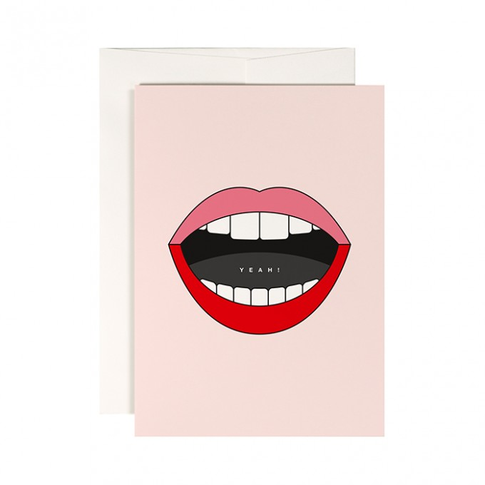 redfries happy lips –Klappkarte DIN A6 mit Umschlag