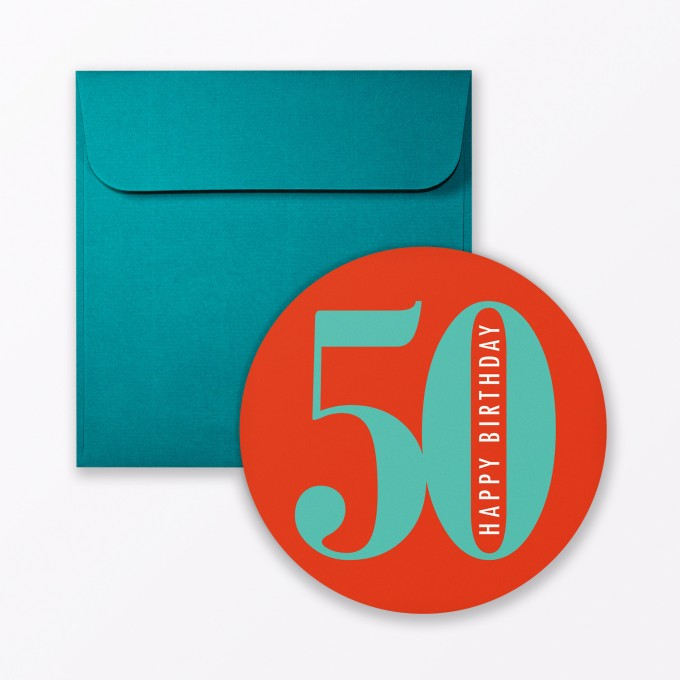 """TYPOP Geburtstagskarte """"Runder Geburtstag 50"""" rund inkl. Umschlag"""