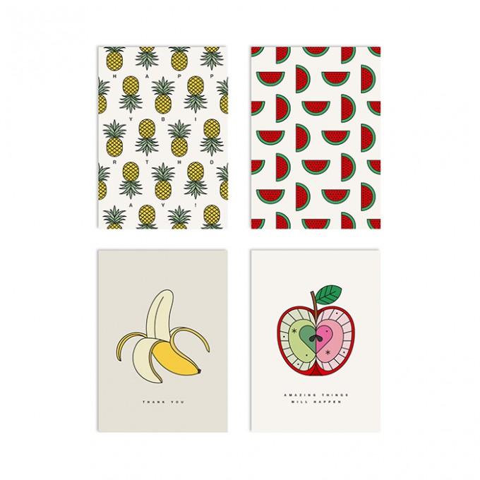 redfries set fruit explosion – Set mit 4 Klappkarten DIN A6 mit Umschlag