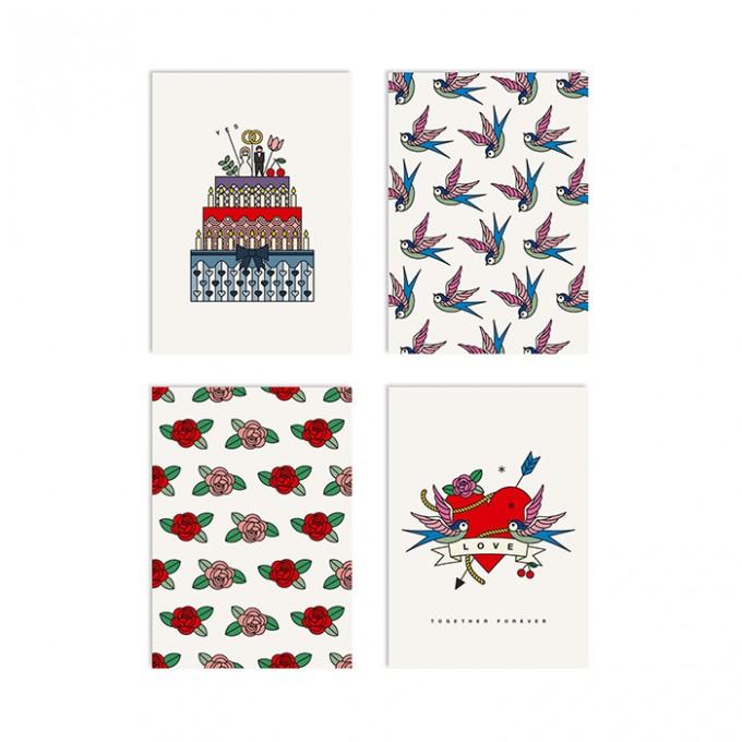 redfries set true romance –Set mit 4 Klappkarten DIN A6 mit Umschlag