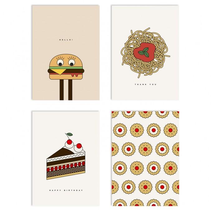 redfries set yummy yummy – Set mit 4 Klappkarten DIN A6 mit Umschlag