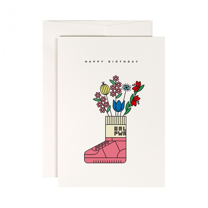 redfries sneaker vase – Klappkarte DIN A6 mit Umschlag