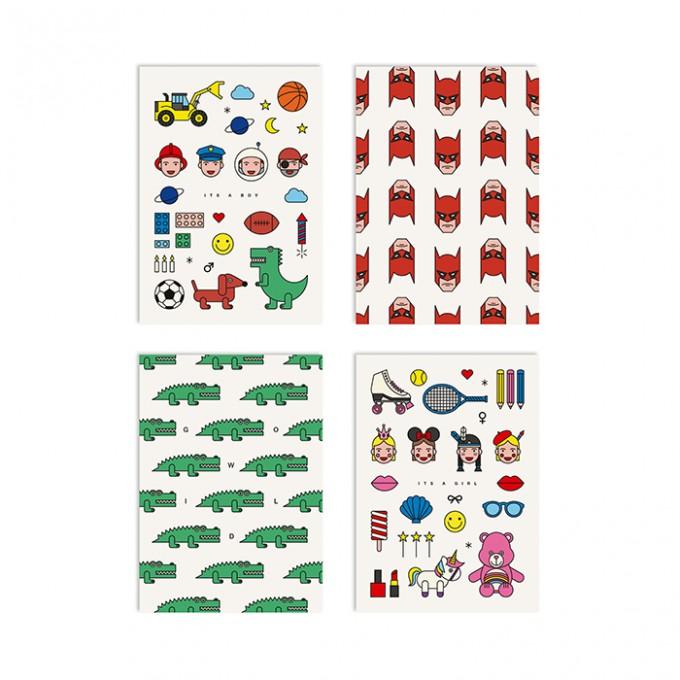 redfries set little heroes – Set mit 4 Klappkarten DIN A6 mit Umschlag