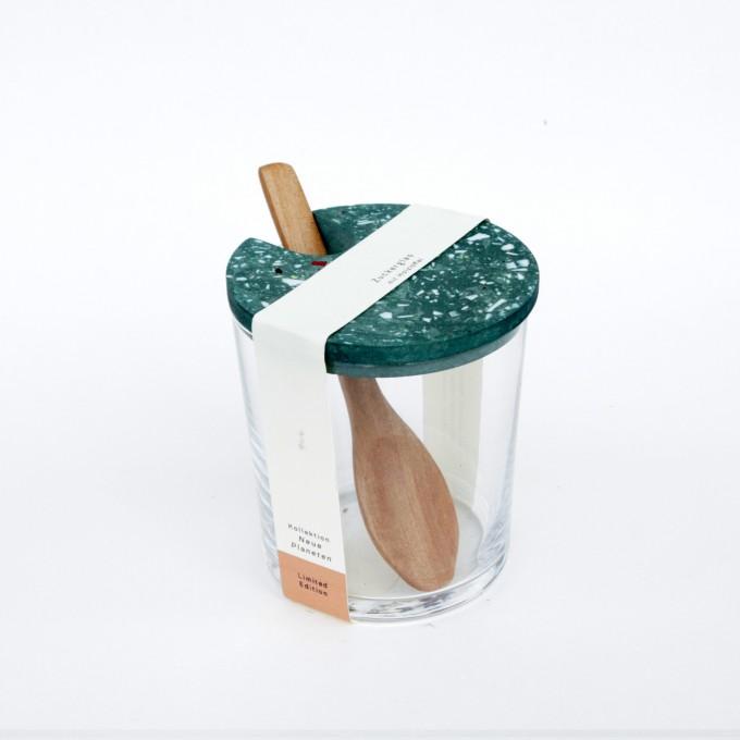 VLO design / Terrazzo Großes Glas mit Holzlöffel & grün Deckel