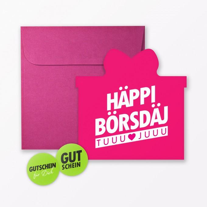 """TYPOP Geburtstagskarte """"Häppi Börsdäj"""" Pink in Geschenkform inkl. Umschlag + 2 Sticker"""