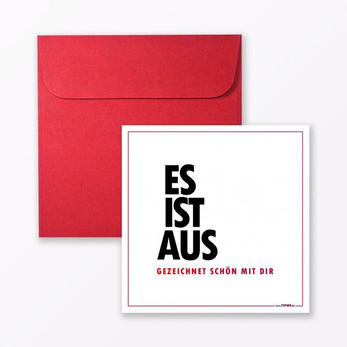 """TYPOP Postkarte """"Es ist aus"""" quadratisch inkl. Umschlag"""