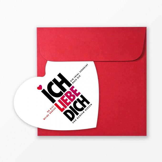 """TYPOP Postkarte """"Ich liebe Dich"""" in Herzform inkl. Umschlag"""