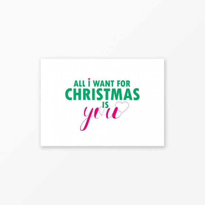 "TYPOP Postkarte ""All I want for Christmas is you"" DIN A6"