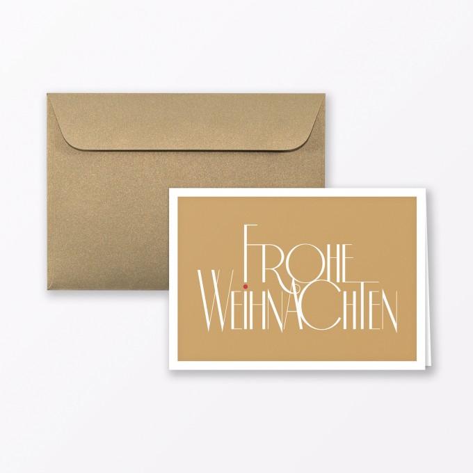 Frohe Weihnachten Gold.Typop 2 Teiliges Set Design Weihnachtskarte Fröhliche Weihnachten Gold Klappkarte A6 Inkl Umschlag