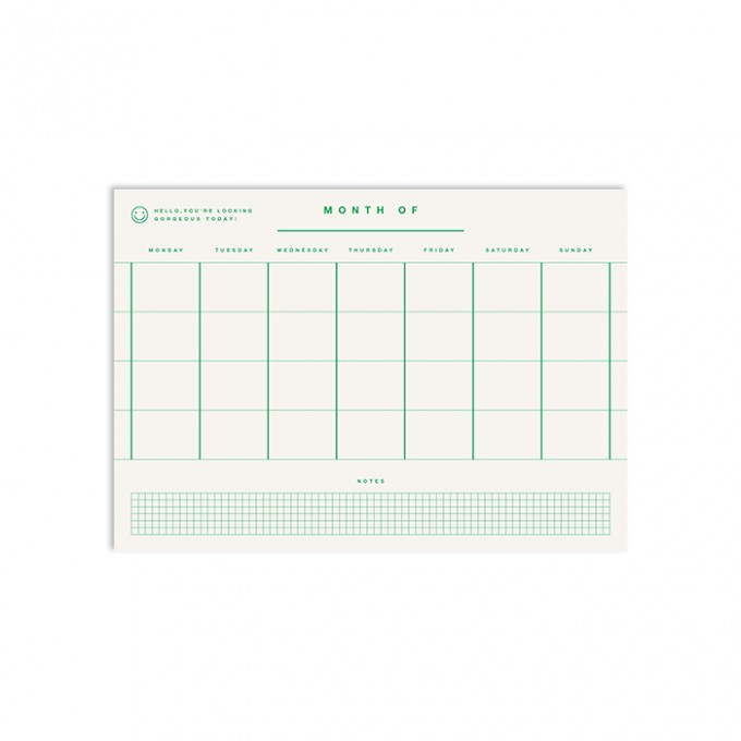 redfries month mono green – Monatsplaner DIN A4