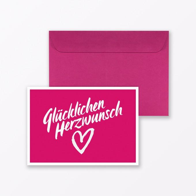 """TYPOP Glückwunschkarte """"Glücklichen Herzwunsch"""" in Pink inkl. Umschlag"""