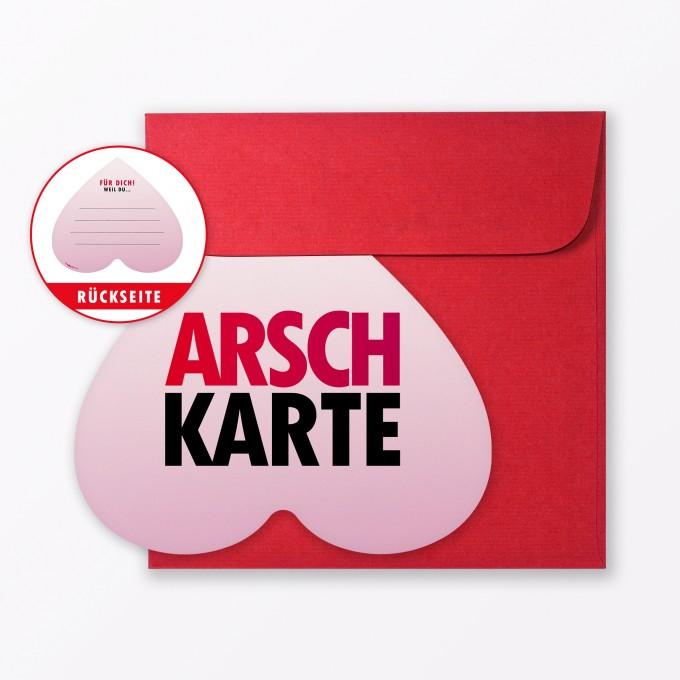 """TYPOP Postkarte """"Arschkarte Frei"""" in Herzform inkl. Umschlag"""