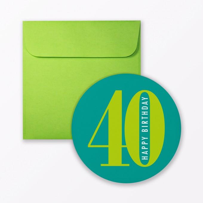 """TYPOP Geburtstagskarte """"Runder Geburtstag 40"""" rund inkl. Umschlag"""
