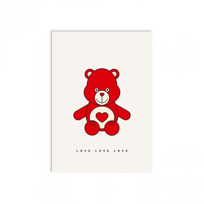 redfries love bear – Postkarte DIN A6