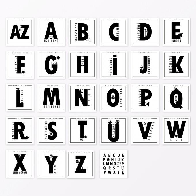 """TYPOP 28-teiliges Set Design ABC-KARTEN """"Ich liebe Dich von A-Z"""" quadratisch"""