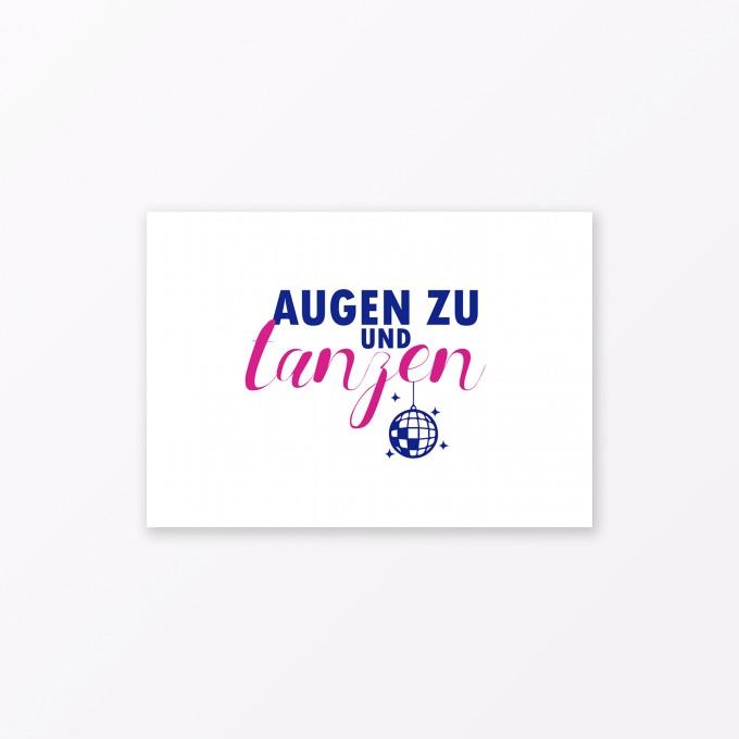 """TYPOP Postkarte """"Augen zu und tanzen"""" DIN A6"""
