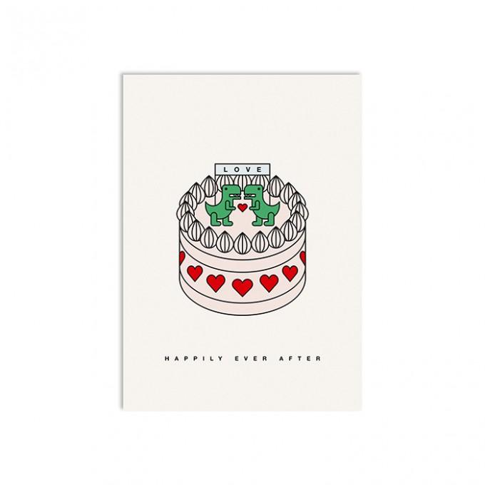 redfries godzilla pie –Postkarte DIN A6 Hochzeit