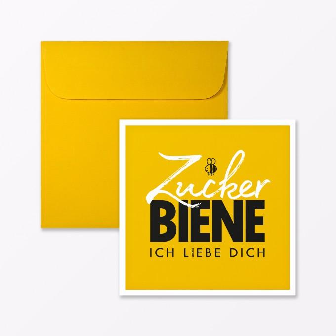"TYPOP Postkarte ""Zuckerbiene"" quadratisch inkl. Umschlag"