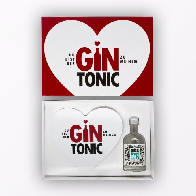"""TYPOP 3-teiliges Geschenk-Set """"Gin Tonic"""" // Herzkarte, Little Breaks Gin & Geschenkverpackung"""