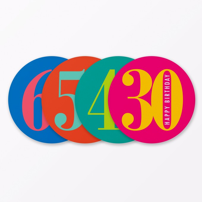 """TYPOP 4-teiliges Set Geburtstagskarte """"Runder Geburtstag 30, 40, 50, 60"""" rund"""