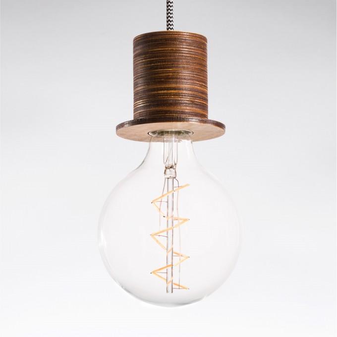 """Lichtliebe Pendelleuchte """"Fafoo"""" in dunkelbraun und schwarz-weiß inkl. Edison Spiral LED Vintage im Retro Design mit nur 1,8 Watt"""