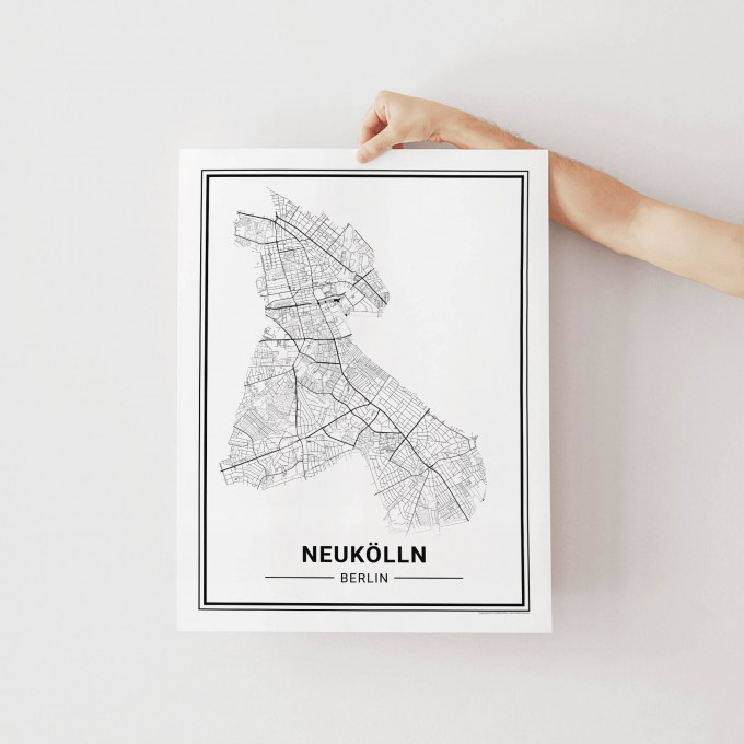 BERLIN Neukölln Poster Stadtplan von Skanemarie