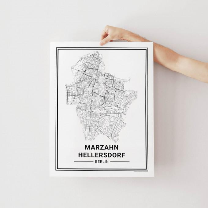 BERLIN Marzahn Hellersdorf Poster Stadtplan von Skanemarie