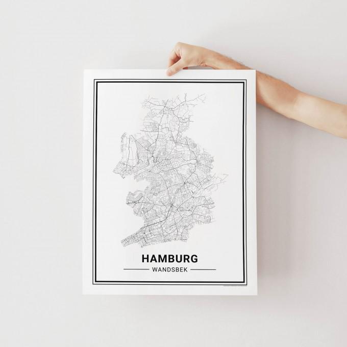 HAMBURG Wandsbek Poster Stadtplan von Skanemarie