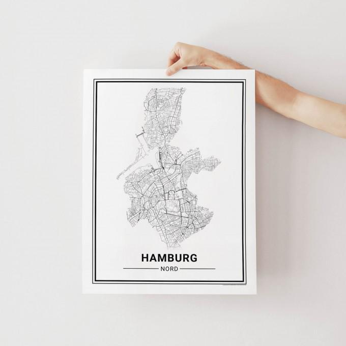 HAMBURG Nord Poster Stadtplan  von Skanemarie