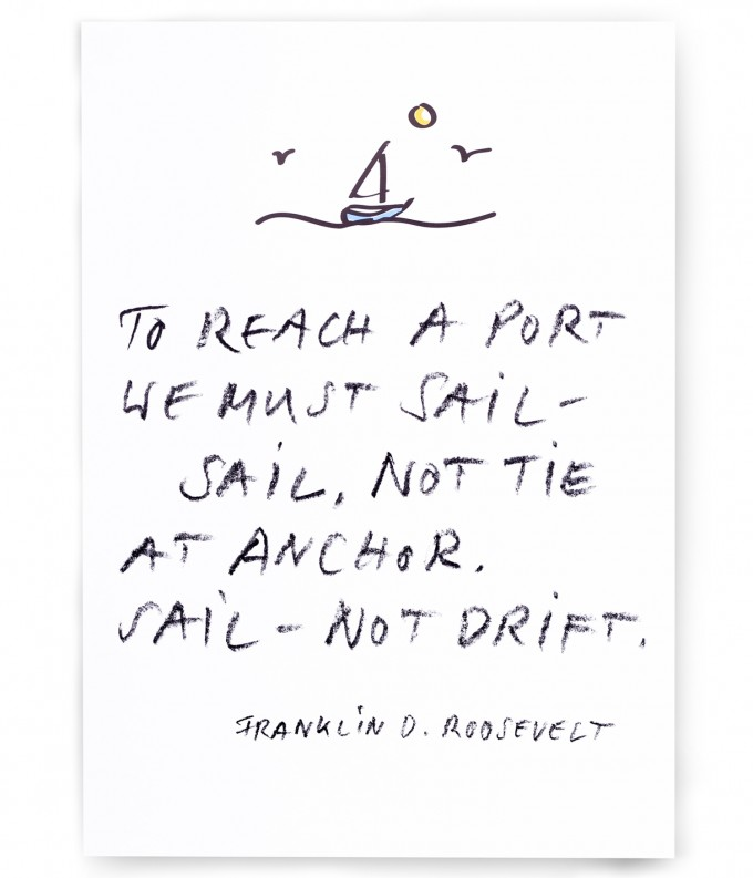 "PETERSEN - Poster ""To reach a port"", Franklin D. Roosevelt (A3)"