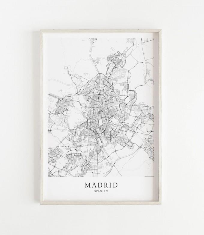 Karte MADRID als Print im skandinavischen Stil von Skanemarie
