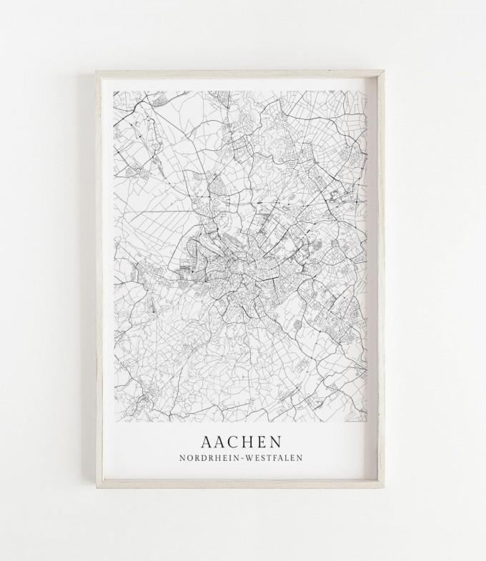 Karte AACHEN als Print im skandinavischen Stil von Skanemarie